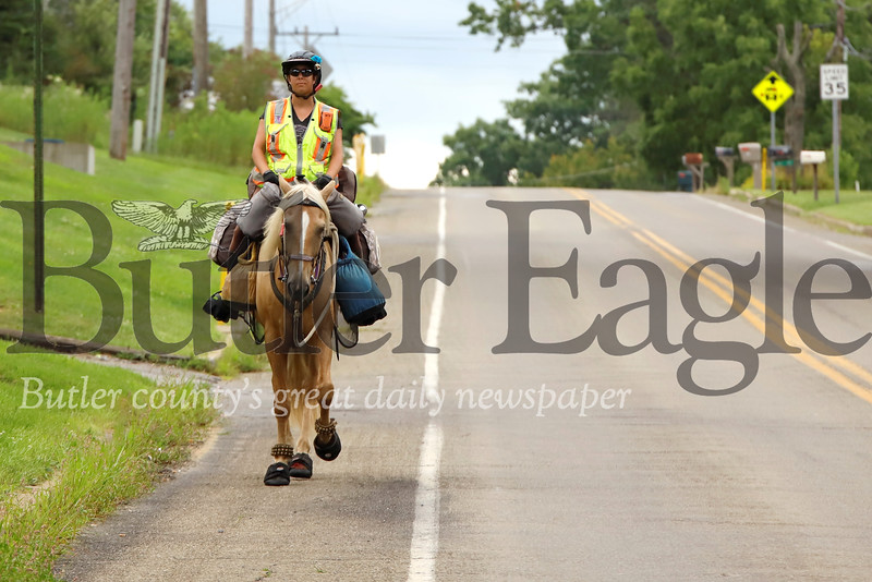 Meredith Cherry rides her horse Apollo along Whitestown Rd. west of Butler. The pair are traveling across America to raise awareness about domestic violence issues. Seb Foltz/Butler Eagle