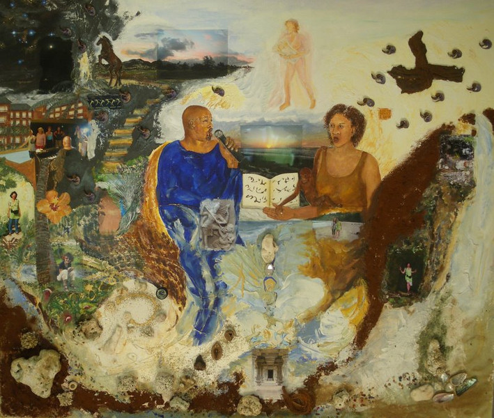 From Cora Schwindt: 'Kauai-painting',  Acrylic, coralls, shells and photos on canvas, 130x110, it's m singing with hannibal and a lot more happening there...