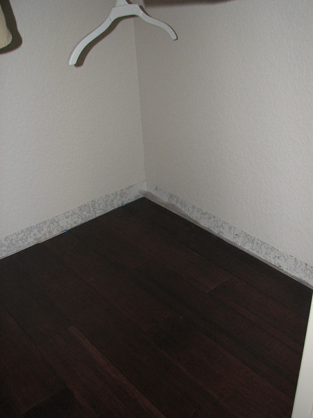 Flooring is complete in the closet.