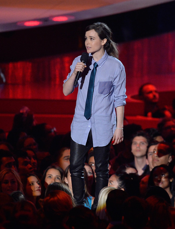 . Actress Ellen Page speaks onstage at the 2014 MTV Movie Awards at Nokia Theatre L.A. Live on April 13, 2014 in Los Angeles, California.  (Photo by Kevork Djansezian/Getty Images for MTV)