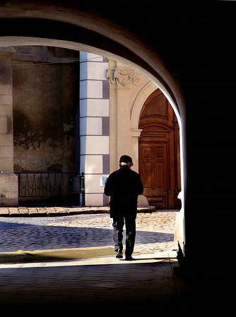 Man in the archway.  Bratislava, Slovakia -2004