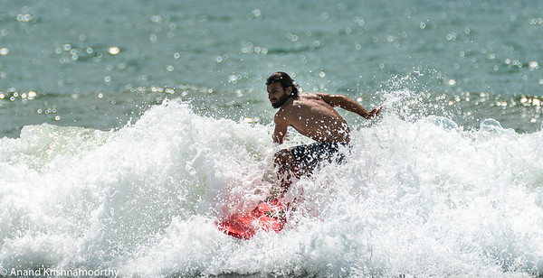 Surfing at Weligama