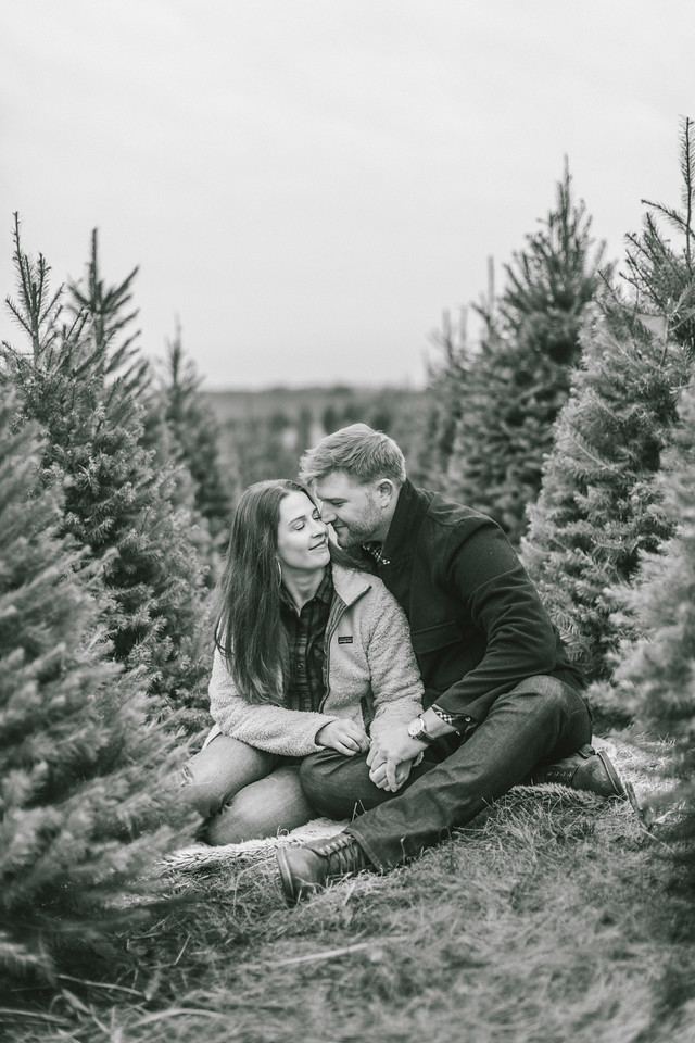 Lizzie and Craig's Christmas tree engagement shoot at Graver Farm holding hands.