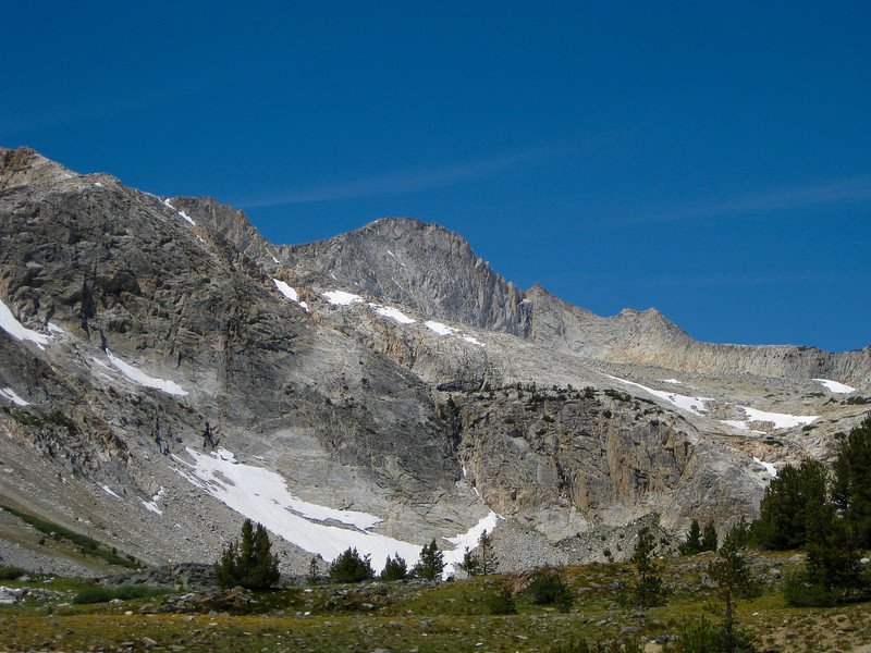 View on Mt. Conness (el. 12,590 ft.) from boat ramp.