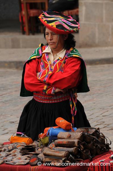 Standing Over Handmade Bags - Cusco, Peru
