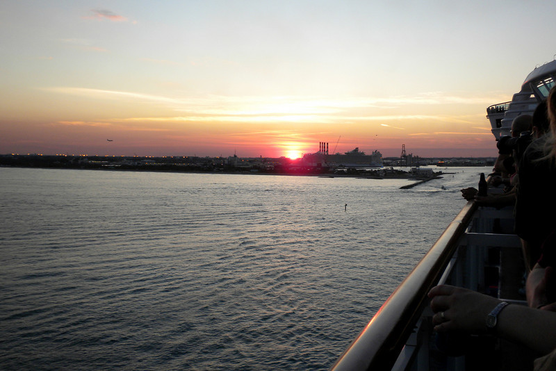 Pulling out of port at sunset, from Ft. Lauderdale