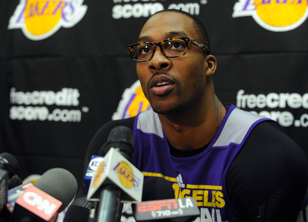 . EL SEGUNDO - 02/19/13 - (Photo: Scott Varley, Los Angeles Newspaper Group)  At the Lakers practice facility in El Segundo, Lakers players and staff reflect on the passing of long-time owner Dr. Jerry Buss. Player Dwight Howard talks about Buss, trade rumors and his happiness with playing for the Lakers.