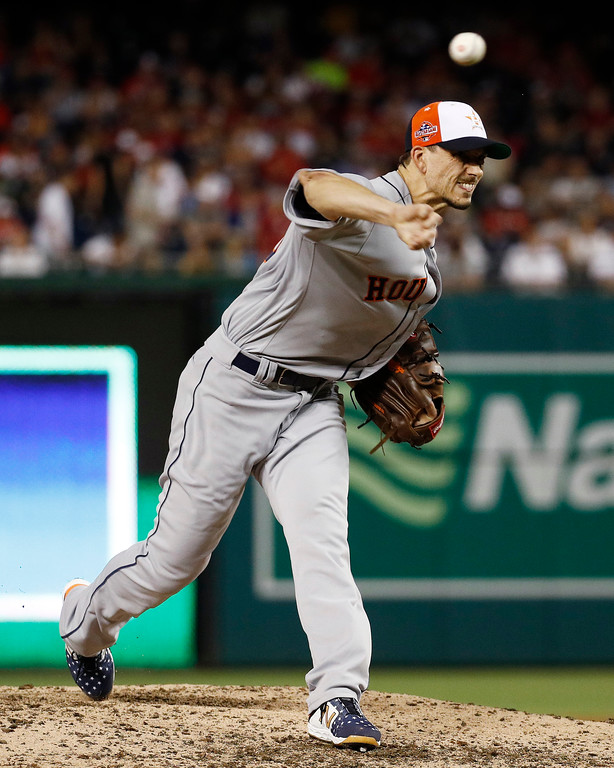 . Houston Astros pitcher Charlie Morton (50) throws in the seventh inning during the Major League Baseball All-star Game, Tuesday, July 17, 2018 in Washington. (AP Photo/Patrick Semansky)