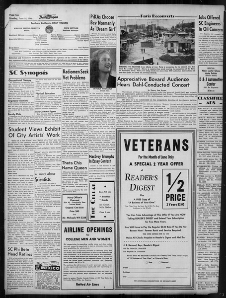 Daily Trojan, Vol. 37, No. 145, June 10, 1946