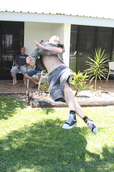 Luke doing a twisting jump thingy.