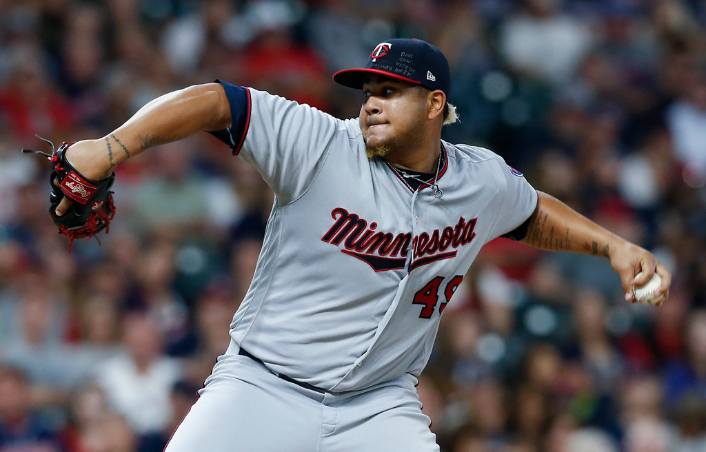 . Minnesota Twins starting pitcher Adalberto Mejia delivers against the Cleveland Indians during the second inning in a baseball game, Wednesday, Sept. 27, 2017, in Cleveland. (AP Photo/Ron Schwane)