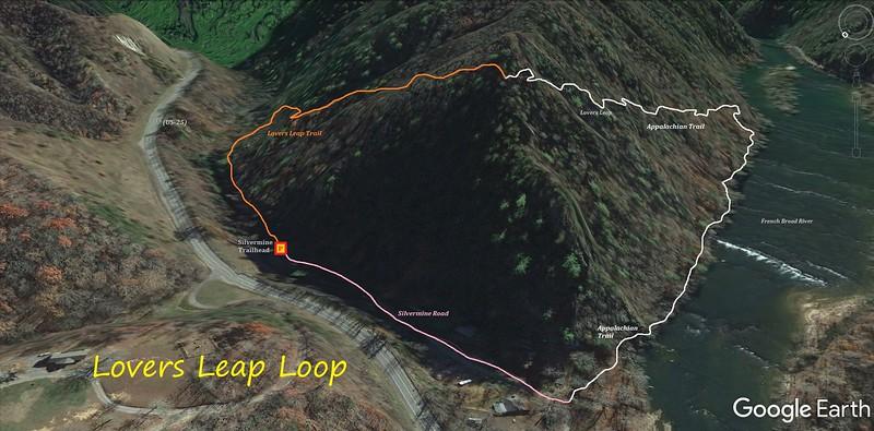 Lovers Leap Loop Hike Route Map