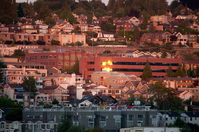 The sun setting on Seattle.