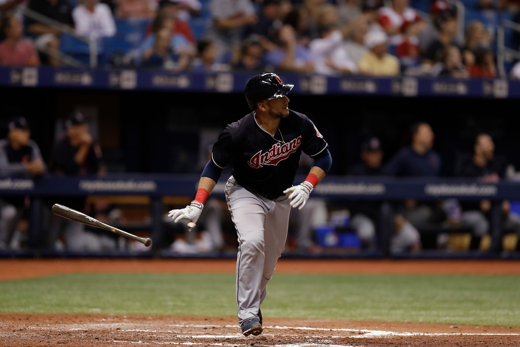 . Cleveland Indians\' Yan Gomes drops his bat as he watches his home run off Tampa Bay Rays pitcher Tyler Glasnow during the fifth inning of a baseball game Tuesday, Sept. 11, 2018, in St. Petersburg, Fla. (AP Photo/Chris O\'Meara)