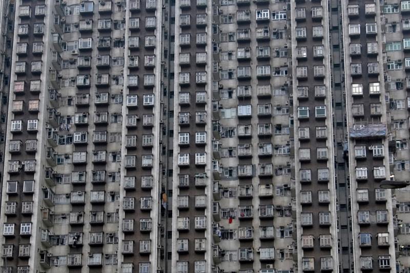Rows of apartments at a building in Kowloon, Hong Kong