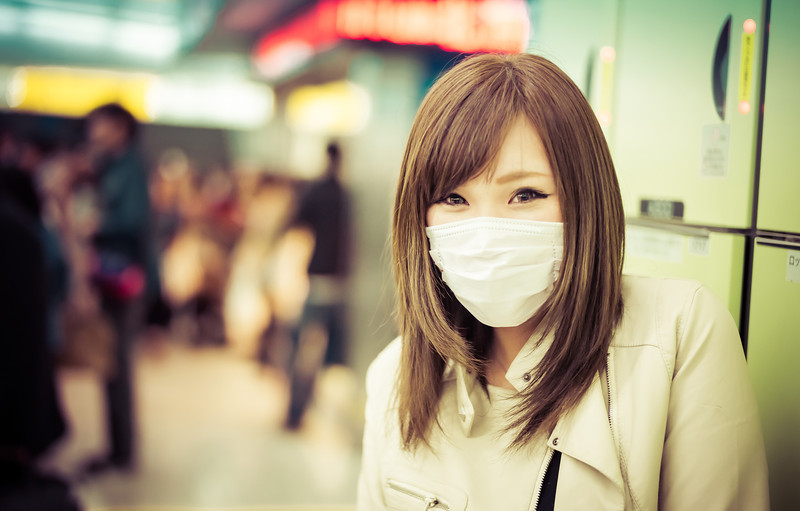 Girl with Facemask in Shibuya Station