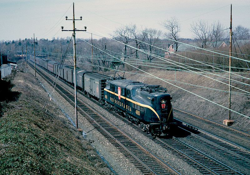 """March 1962.  Thanks to the folks who identified this location as """"Bryn Mawr from the North Merion Avenue bridge, looking west"""". Sounds about right to me."""