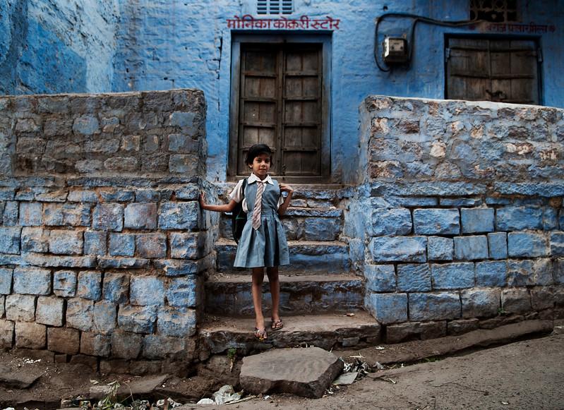 Small girl on her way to school.  Bundi, Rajasthan, India, 2011.