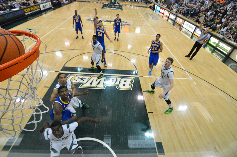 Cal Poly Men's Basketball takes on UC Riverside. The Mustangs won 69-64. Feb. 22, 2014. Photo by Ian Billings