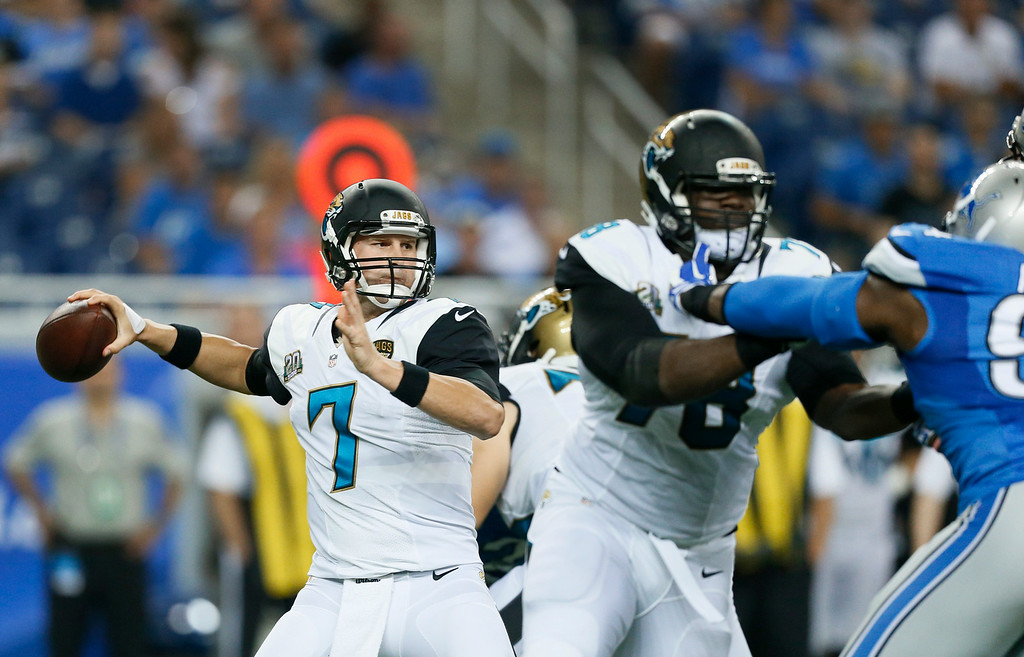 . Jacksonville Jaguars quarterback Chad Henne (7) throws against the Detroit Lions in the first half of a preseason NFL football game at Ford Field in Detroit, Friday, Aug. 22, 2014. (AP Photo/Rick Osentoski)