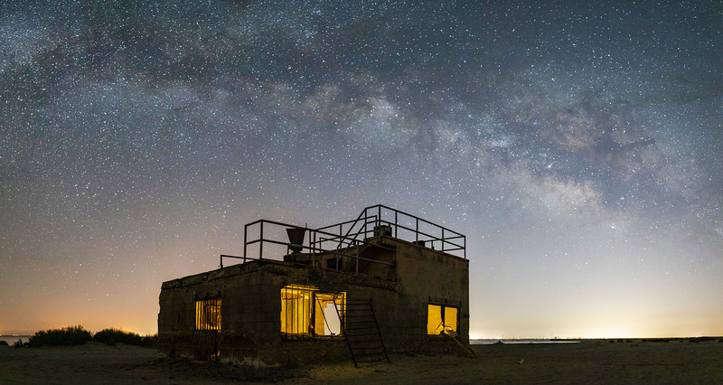 Milky Way Over Abandoned Observation Building at the Salton Sea Naval Station.
