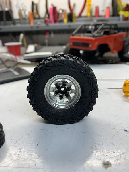 RC4WD chrome steel wheel and Wrangler tire mounted
