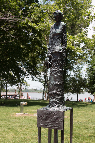 Emma Lazerus, part of Phillip Ratner sculptures  on Liberty Island -- A trip to the Status of Liberty, NYC., June 22, 2017.