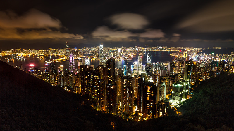 Legendary & breathtaking view at night over Hong Kong bay from Victoria Peak.
