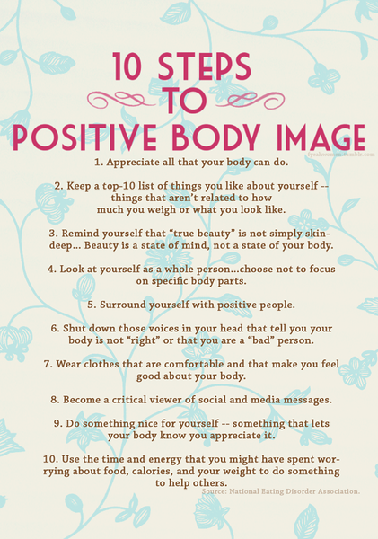 BODY IMAGE  -  PERFECT!!!   We are NOT our bodies though it sure is a good way to distract ourselves from looking WITHIN!!!  LOVE EVERY Pound you have & when/IF you take some off - love all of that as well!!  & if someone's got issues with your body - KNOW that SOMEWHERE in their childhood - someone INFLICTED those issues/images on them & THAT's where they're TRULY coming from!!!