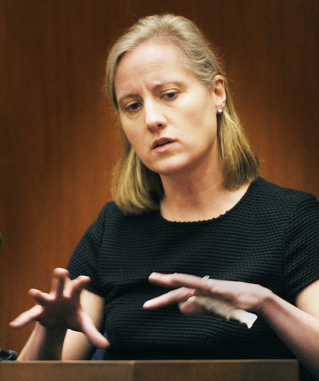 . Sandra Boss, former wife of Christian Karl Gerhartsreiter testifying in the murder trial of Christian Karl Gerhartsreiter. The prosecutor and defence have rested in the murder trial of Christian Karl Gerhartsreiter, at Clara Shortridge Foltz Criminal Justice Center in Los Angeles Wednesday,  April 3, 2013. He has pleaded not guilty to the killing of John Sohus, 27, who disappeared with his wife, Linda, in 1985 while Gerhartsreiter was a guest cottage tenant at the home of Sohus\' mother, where the couple lived. (Photo by Walt Mancini/SGVN)