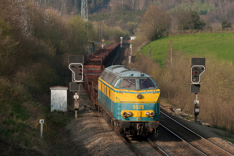 5529 on a junk freight as seen from the most popular foamer spot in the area, Nouvelaar bridge.