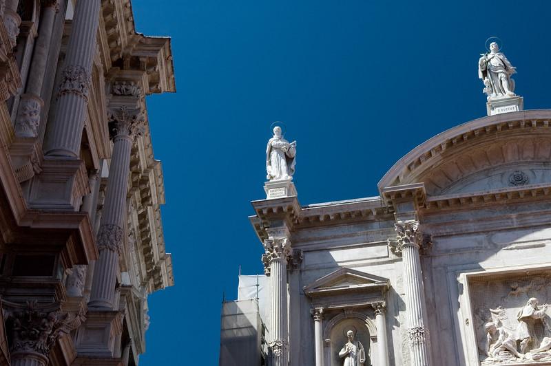 18th century facade of San Rocco church, San Polo quarter, Venice, Italy