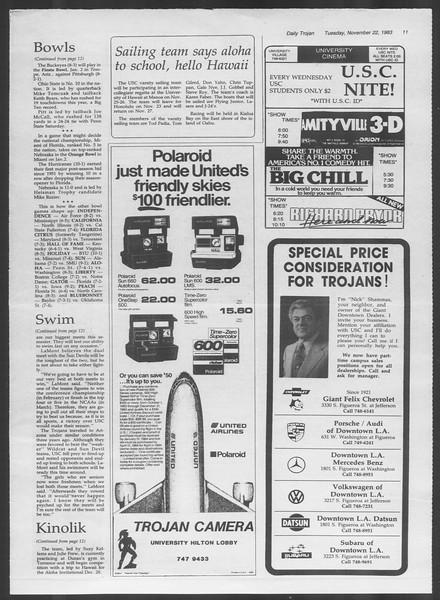 Daily Trojan, Vol. 94, No. 55, November 22, 1983