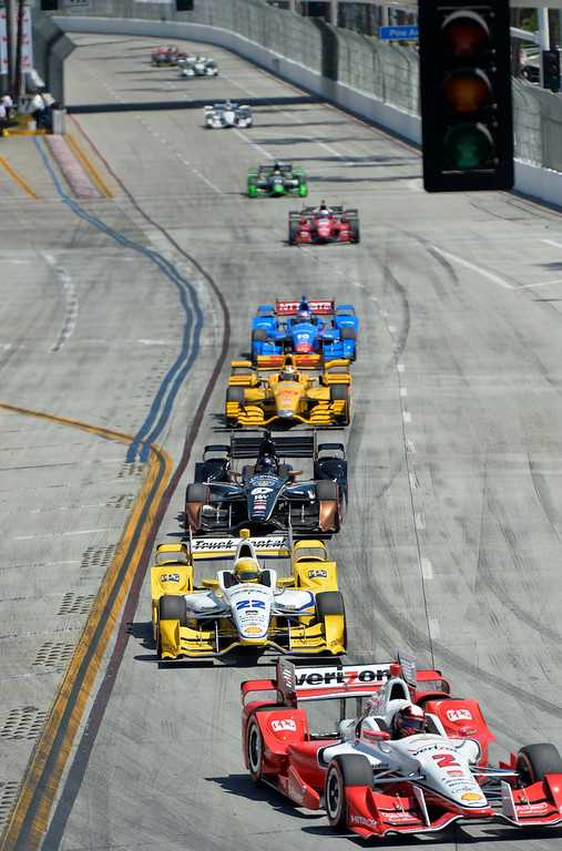 . Racers line up in lap two as they come around to turn one during the start of the race in the Toyota Grand Prix of Long Beach in Long Beach CA. Sunday April 19, 2015.  (Thomas R. Cordova-Daily Breeze/Press-Telegram)