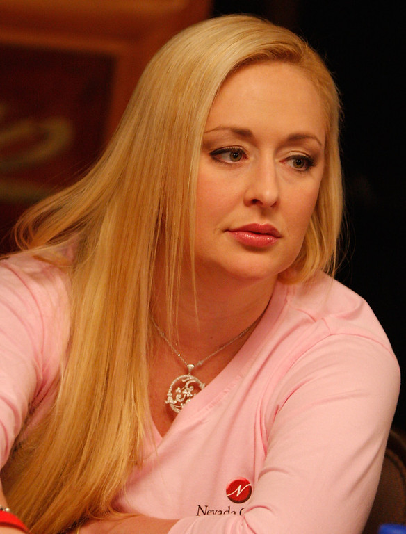 . Singer Mindy McCready of the Queens of Heart poker team participates in the Ladies No-Limit Hold \'em poker tournament at the World Series of Poker at the Rio Hotel & Casino June 8, 2008 in Las Vegas, Nevada. A portion of the proceeds from the team will benefit the Nevada Cancer Institute. (Photo by Angela Weiss/Getty Images)