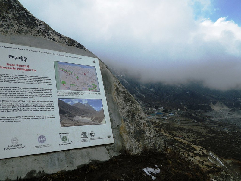 Through this area the main trading route towards Tibet and Nangpa La (19,050ft = 5.806m) is passing.