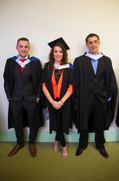 29/10/2015. Waterford Institute of Technology Conferring. Pictured are Eamon Conlon, Laois, Shannon Cuddihy, Waterford and Ivan Donnelly, Wexford. Picture: Patrick Browne