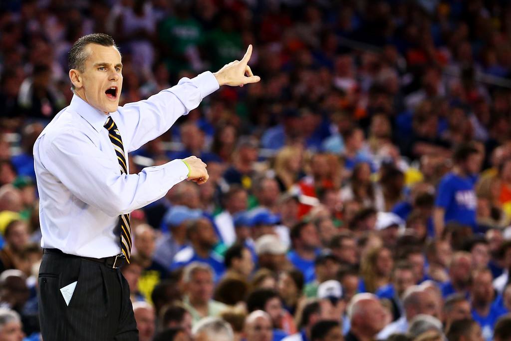 . ARLINGTON, TX - MARCH 29:  Head coach Billy Donovan of the Florida Gators reacts in the first half against the Florida Gulf Coast Eagles during the South Regional Semifinal round of the 2013 NCAA Men\'s Basketball Tournament at Dallas Cowboys Stadium on March 29, 2013 in Arlington, Texas.  (Photo by Ronald Martinez/Getty Images)