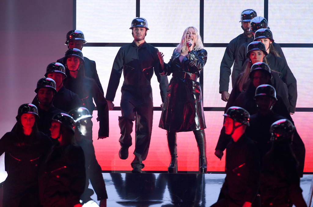 """. Christina Aguilera performs \""""Fall In Line\"""" at the Billboard Music Awards at the MGM Grand Garden Arena on Sunday, May 20, 2018, in Las Vegas. (Photo by Chris Pizzello/Invision/AP)"""