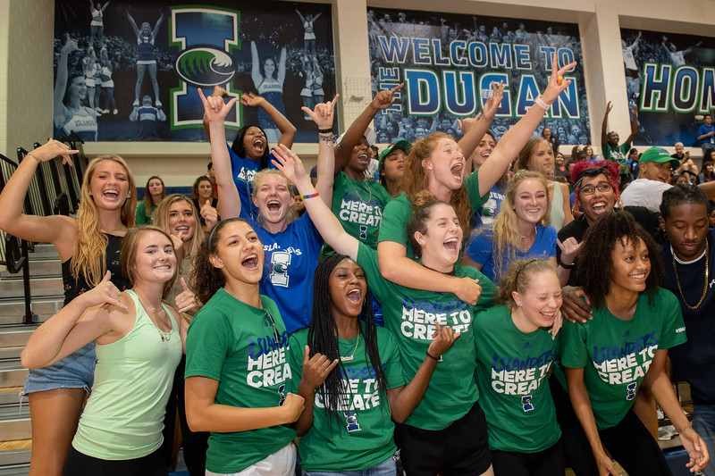 Students cheer for the Islanders Volleyball team during their home game vs UTRGV in the Dugan Wellness Center gym.