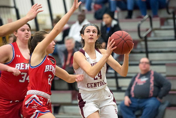 01/10/20 Wesley Bunnell | Staff The Bristol Central girls basketball team was defeated at home on Friday night by Berlin. BC's Sophia Torreso (24) guarded by Berlin's Clare McGeever (21).