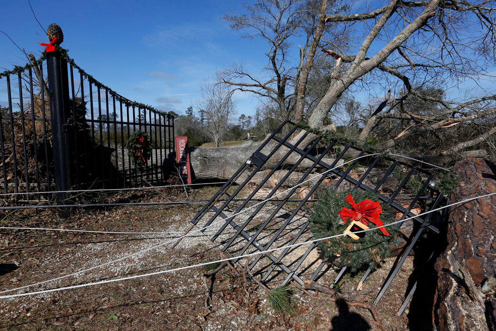 Description of . Downed power lines and trees from the severe weather Christmas day delayed made it difficult for homeowners at this  McNeill, Miss., residence to begin clean up, Wednesday, Dec. 26, 2012. More than 25 people were injured and at least 70 homes were damaged in Mississippi by the severe storms that pushed across the South on Christmas Day, authorities said Wednesday. Damages have been reported in 10 counties and officials continue to assess the situation. (AP Photo/Rogelio V. Solis)