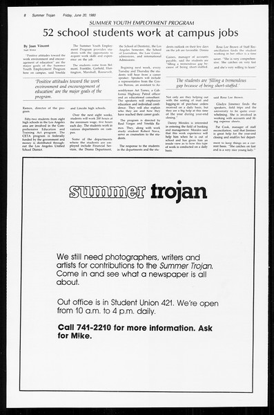 Summer Trojan, Vol. 89, No. 3, June 20, 1980