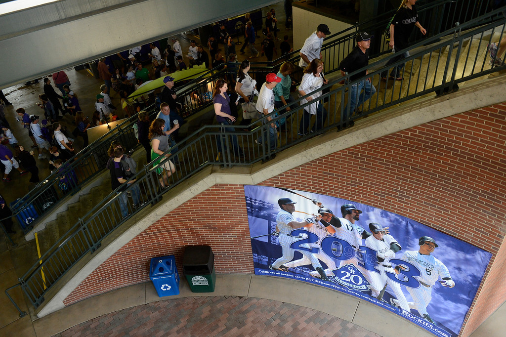 . Fans file into the stadium before the start of the game.  (Photo by Andy Cross/The Denver Post)