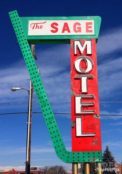 The Sage Motel Retro Hotel Sign in Vernal, Utah