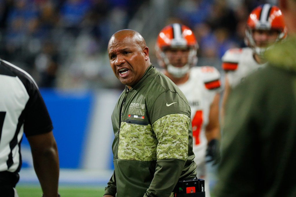 . Cleveland Browns head coach Hue Jackson yells during the second half of an NFL football game against the Detroit Lions, Sunday, Nov. 12, 2017, in Detroit. (AP Photo/Rick Osentoski)