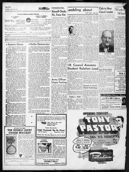 Daily Trojan, Vol. 38, No. 123, April 29, 1947