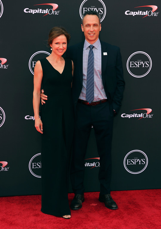 . ESPN President James Pitaro, right, and Jean Louisa Kelly arrive at the ESPY Awards at Microsoft Theater on Wednesday, July 18, 2018, in Los Angeles. (Photo by Willy Sanjuan/Invision/AP)