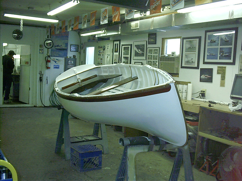 Starboard front view of finished hull.