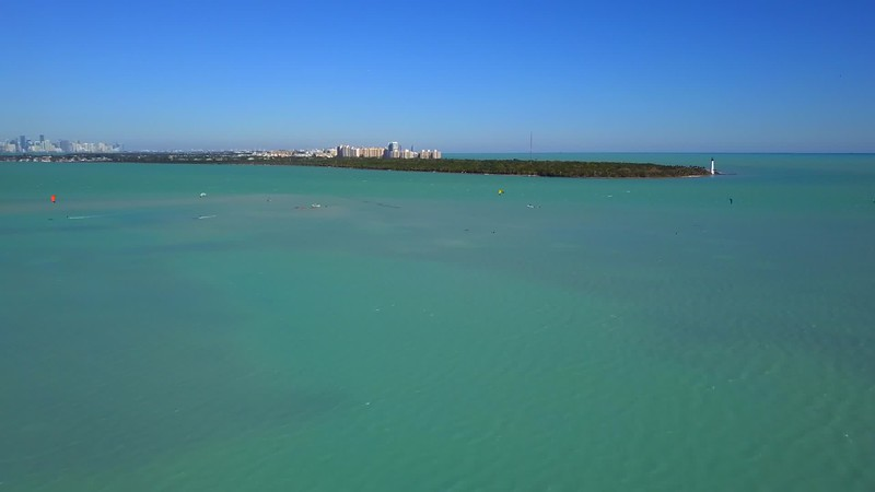 Aerial drone video Bill Baggs Cape Florida State Park and lighthouse
